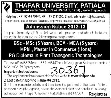 MSc,MBA and PhD Programmes etc (Thapar Institute of Engineering and Technology University)