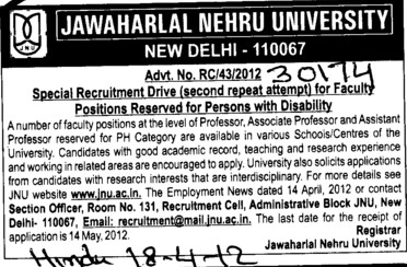 Professor,Asstt Professor and Associate Professor (Jawaharlal Nehru University)