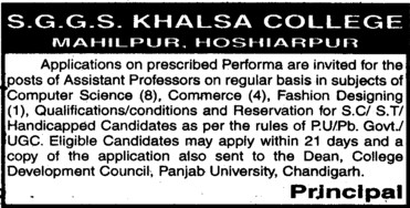 Asstt Professor in regular basis (SGGS Khalsa College)