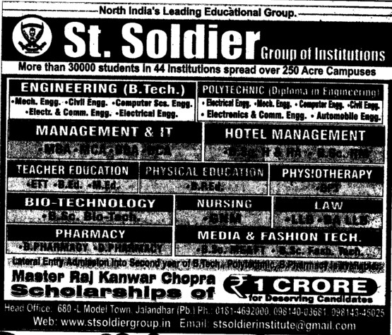 BTech in various streams (St Soldier Group)