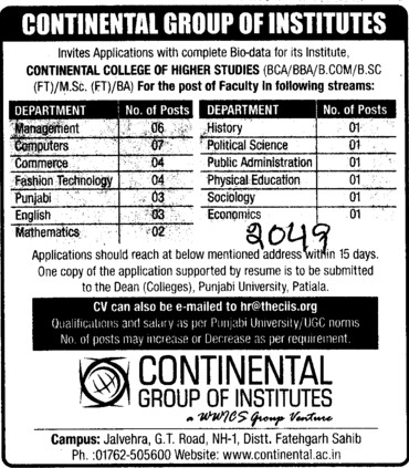 Faculty for UG Courses (Continental Group Institute Jalvehra)