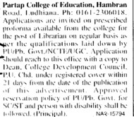 Librarian on regular basis (Partap College of Education)