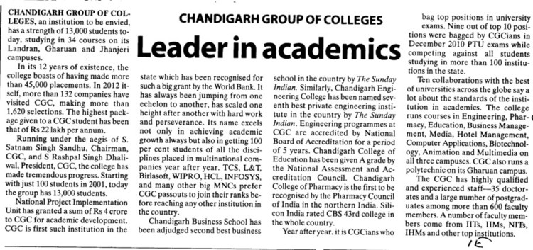 Leader in Academics (Chandigarh Group of Colleges)