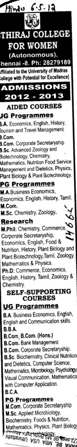 UG and PG Courses (Ethiraj College for Women Egmore)