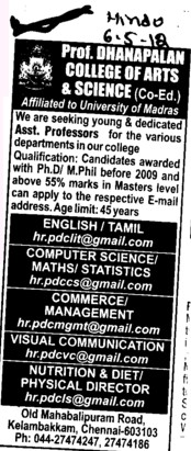 Asstt Professor in various departments (Prof Dhanapalan College for Science and Management)
