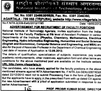 Faculty for Hindi,Punjabi,English and Physical Education etc (National Institute of Technology NIT)