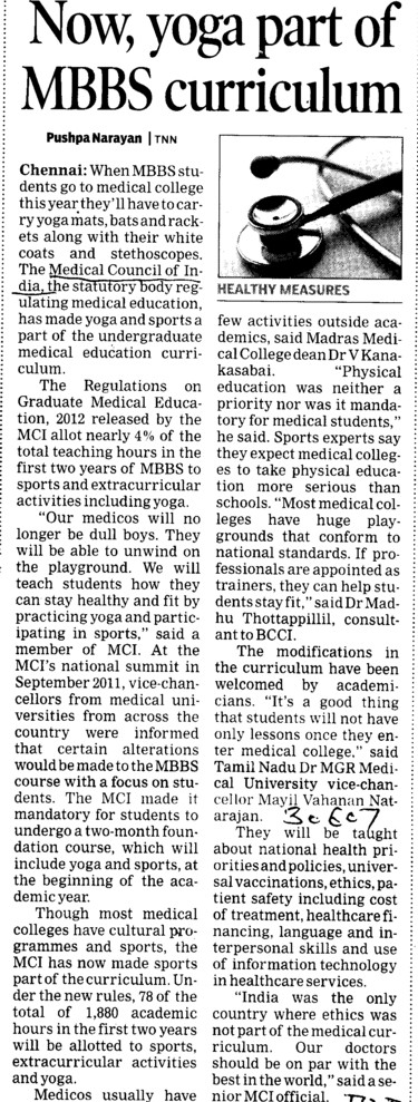 Now, yoga part of MBBS curriculum (Medical Council of India (MCI))