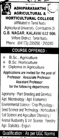 BSc in Agriculture and Diploma (Adhiparasakthi Agricultural college)