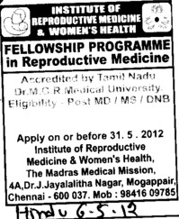 MD, MS and DNB Courses (Institute of Reproductive Medicine and Women Health)