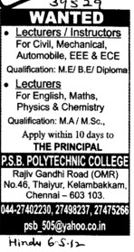 Lecturer and Instructors (PSB Polytechnic College)