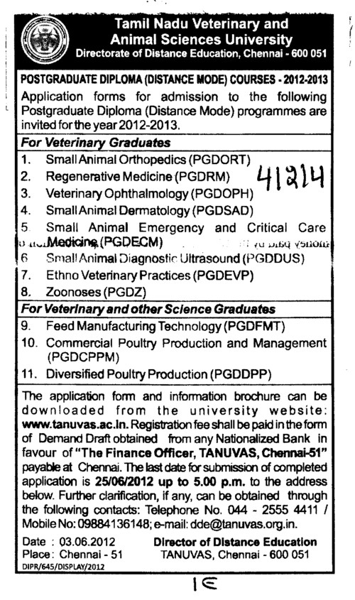 Distance Course in Feed Manufacturing Technology etc (Tamil Nadu Veterinary and Animal Sciences University, MADRAS VETERINARY COLLEGE)