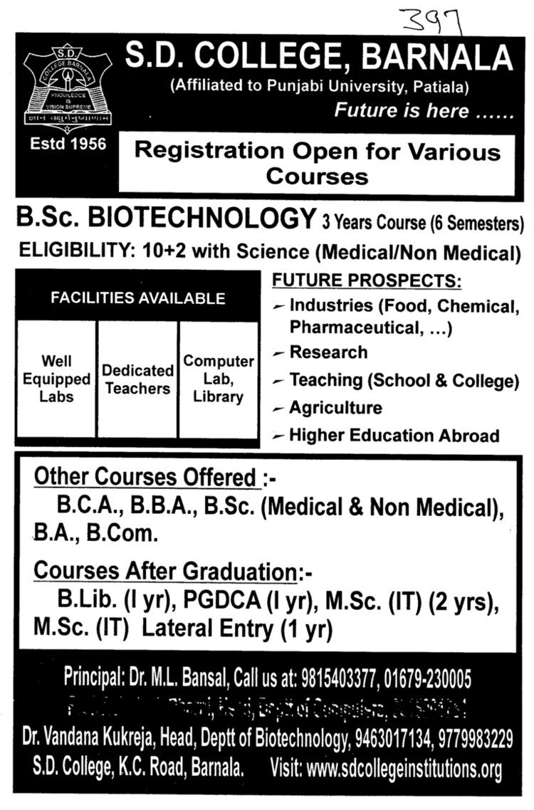 B Sc Biotechnology (SD College)
