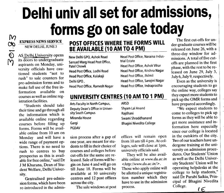 DU Admission forms on sale today (Delhi University)