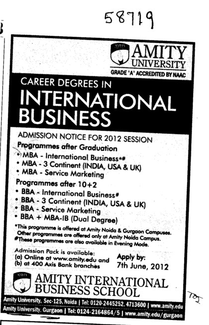 Career degrees in International Business (Amity University Manesar)