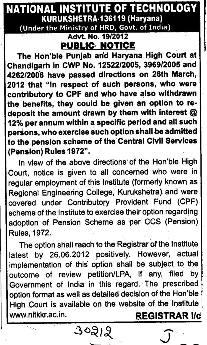 CPF deposit as per court order (National Institute of Technology (NIT))