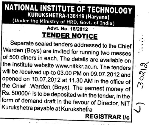 2 messes of 500 dinners each (National Institute of Technology (NIT))