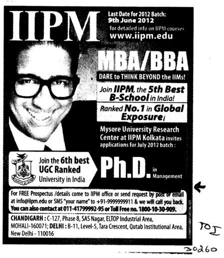 Ph D in Management in IIPM (University of Mysore)