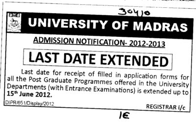 Last date extended for PG courses (University of Madras)
