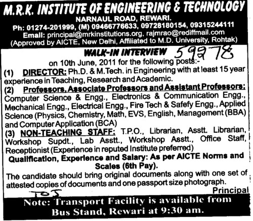 Director, professors and non teaching staff (MRK Institute of Engineering and Technology)