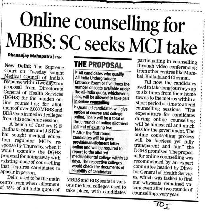Online counselling for MBBS (Medical Council of India (MCI))