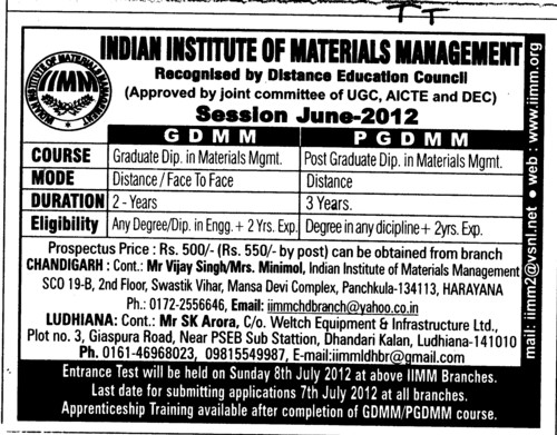 GDMM PGDMM courses 2012 (Indian Institue of Materials Management)