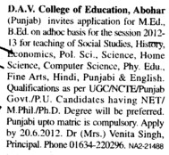 Invitation for MEd and BEd on adhoc basis (DAV College of Education)