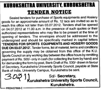 Sports Equipments and Hosiery Goods (Kurukshetra University)