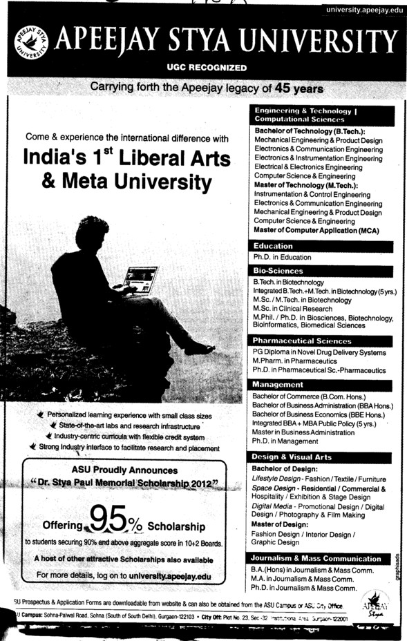 BTech, MTech and MDS Courses etc (Apeejay Stya University)