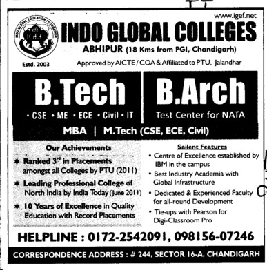 BTech, B Arch and MBA Courses etc (Indo Global College of Engineering)