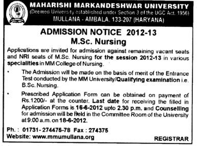 MSc Nursing Course (Maharishi Markandeshwar University)