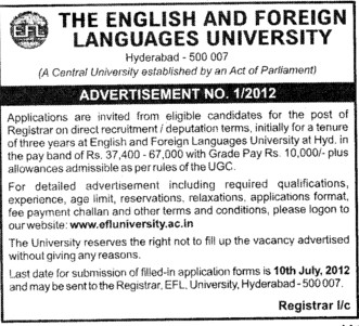 Registrar on direct recruitment (English and Foreign Languages University)