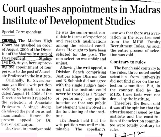 Court quashes appointments in Madras institute of Development Studies (Madras Institute of Development Studies (MIDS))