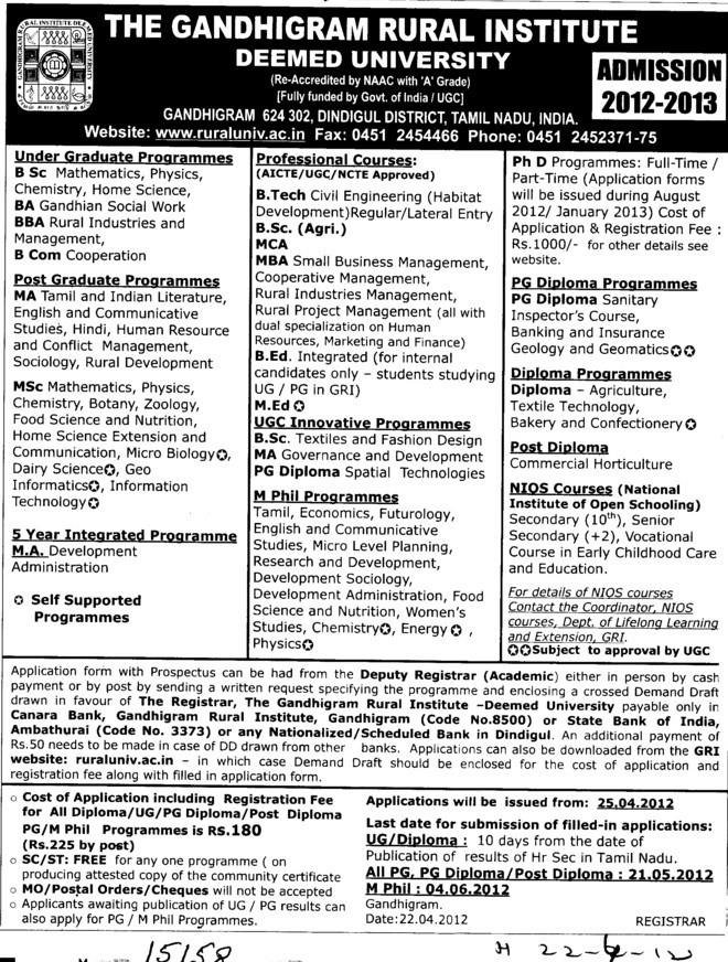 BA, BSc, MA and PhD Programmes etc (Gandhigram Rural Institute University)