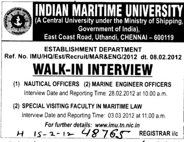 Nautical Sciences and Marine Engineer Officers (Indian Maritime University)