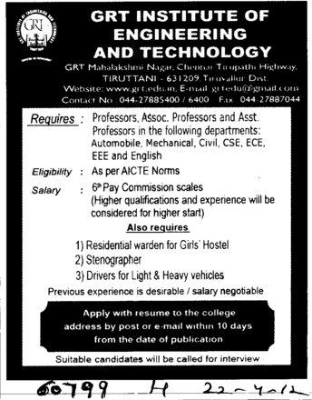 Professor, Associate Professor and Asstt Professor etc (GRT Institute of Engineering and Technology (GRTIET))