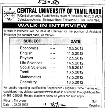 Asstt Professor on various subjects (Central University of Tamil Nadu (CUTN))