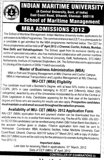 MBA Course 2012 (Indian Maritime University)