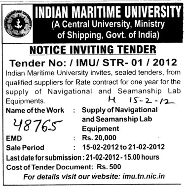 Seamanship Lab Equipments (Indian Maritime University)