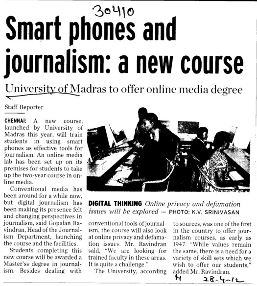 Smart phones and Journalism, a new course (University of Madras)