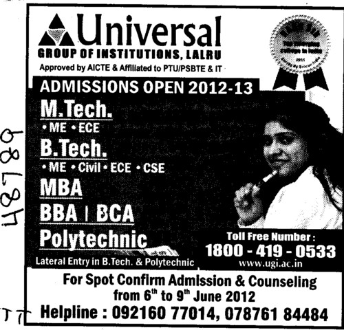 BTech, MTech and MBA Courses etc (Universal Group of Institutions)