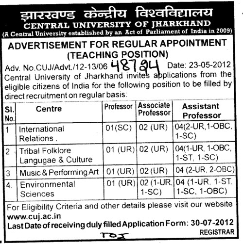 Professor, Associate Professor and Asstt Professor etc (Central University of Jharkhand)