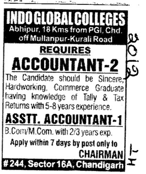 Accountant and Asstt Accountant (Indo Global Group of Colleges)