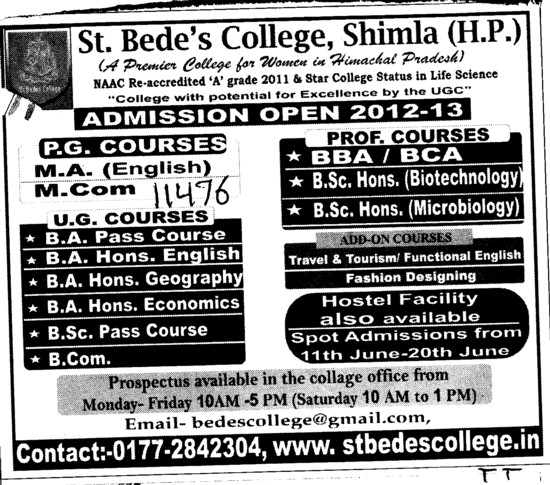 BBA, BCA and MA Courses etc (St Bedes College)