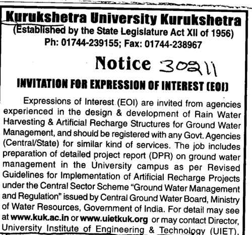 Design and Development of Rain water harvesting and Artificial Recharge (Kurukshetra University)