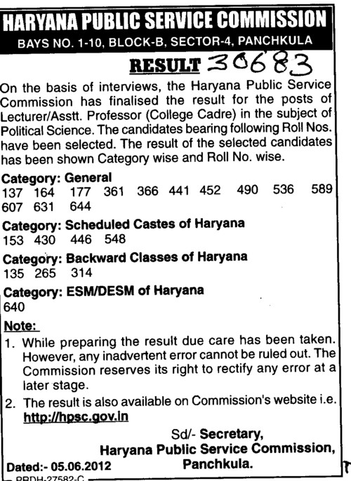 Asstt Professor and Lecturer (Haryana Public Service Commission (HPSC))