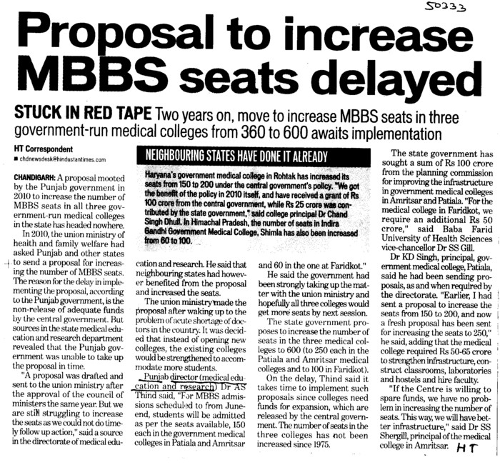 Proposal to increase MBBS seats delayed (Director Research and Medical Education DRME Punjab)