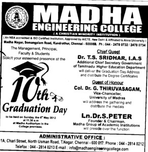 10th Graduation Day (Madha Engineering College (MEC))