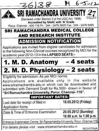 MD in Anatomy and Physiology (SRM University)