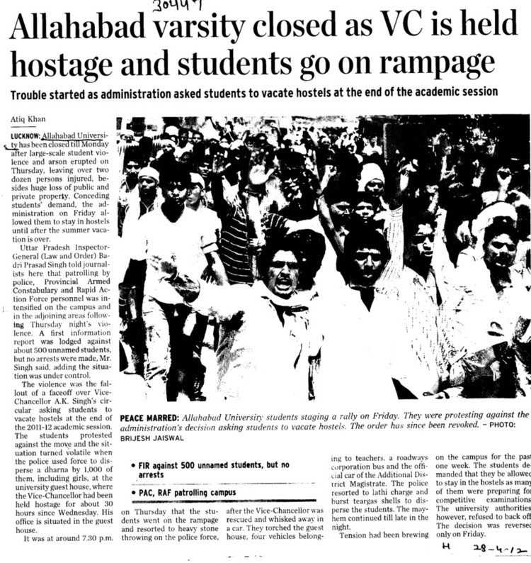 Allahabad Varsity closed as VC is held hostage and students go on rampage (University of Allahabad)