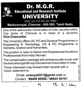 Vice Chancellor (Dr MGR Educational and Research Institute University)